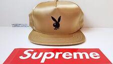 Supreme Playboy Satin 5-panel cap GOLD snapback hat NYC 2016 Adult sz