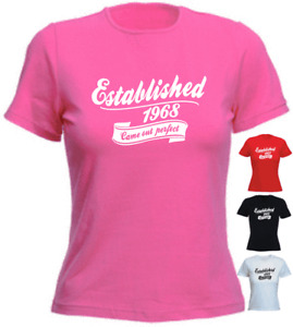 Established 2 50th Birthday 1968 LADIES New Funny T-shirt Present Gift