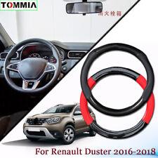 Black Carbon Fiber Leather Car Steering Wheel Cover For Renault Duster 2016+