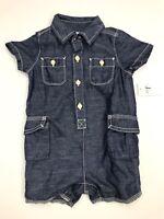 Baby Gap Boys Denim Buttondown Shorts Romper Jumpsuit NWT Blue