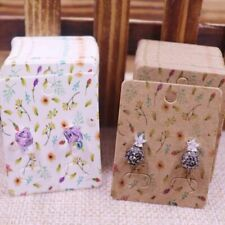 100pcs Cute Earring Card Display Jewelry Colorful Plant Cardboard 3.5x2.5cm