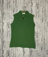 Loro Piana Women`s Green Cotton Sleeveless Vest T-Shirt Size 48