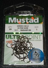 25 Mustad 39954NPBN-01 Ultra Point Demon Perfect Circle Hooks Size 1