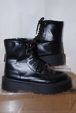 PULL & BEAR Ladies Black Faux Leather Lace Up Platform Boots Uk Size 6.5