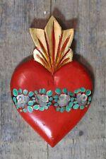 Sacred Heart Hand Carved & Painted Wood Michoacán Mexican Folk Art Love Token!