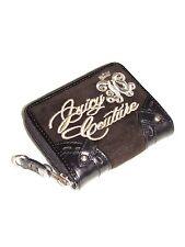 JUICY COUTURE Brown Velour Leather Trim Zip Around Mini Wallet