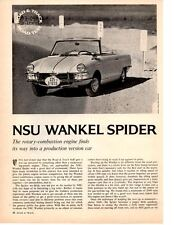 1965 NSU WANKEL-SPIDER ~ ORIGINAL 4-PAGE ROAD TEST / ARTICLE / AD
