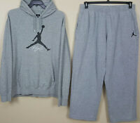 NIKE AIR JORDAN JUMPMAN FLIGHT SWEATSUIT HOODIE + PANTS GREY BLACK (SIZE 3XL)