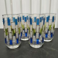 VTG Mid Century Highball Glasses Stained Glass 1960's Tumblers Barware Set of 4