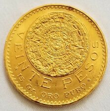 1959 20 PESOS MEXICAN GOLD COIN UNCIRCULATED VEINTE PESOS GORGEOUS!