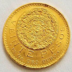 1959 Veinte Pesos Mexican Uncirculated Coin 15 Grams Pure Gold -Excellent+ Grade
