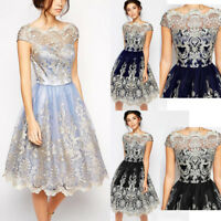 Luxury Lace Prom Formal Evening Cocktail Party Bridesmaid Ball Gowns Dress Women