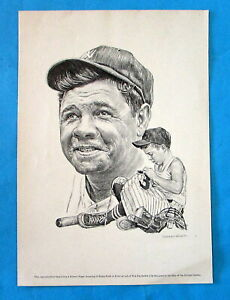 """Vintage Repro Robert Riger dwg of BABE RUTH - suitable for framing - 7 3/4 x 11"""""""