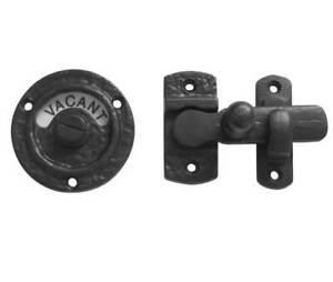 Black Antique Iron WC Vacant Engaged Indicator Toilet Bathroom Door Lock Bolt