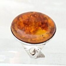 1917.Bernstein Silber Ring 835 Silber  RG 54 (17,2 mm Ø) Bernstein Cabochon