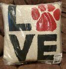LOVE PAW PRINT Hook Wool Pillow 16'X16' Peking Handicraft - NEW!