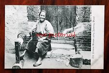 HONG KONG OLD CHINESE WOMAN USING SPINNING WHEEL UNUSED EARLY 1900'S POSTCARD