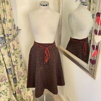 Vintage Fits UK 10 St Michaels quilted paisley print thick A line skirt boho VGC