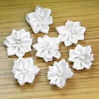 40Pcs Crystal Rhinestone Decoration Satin Ribbon Flower Appliques Crafts White
