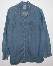 Men's Size L Tall L.L. BEAN Denim Long Sleeve Button Front Shirt * VGC