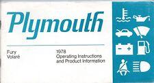 Plymouth Fury & Blu 1978 originale della fabbrica Proprietari Manuale
