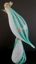 Large Murano Art Glass Italian Green Latticino Bird Possibly Seguso.