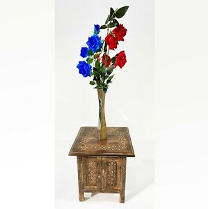 Hand Crafted, Carved Square Side Table Wooden Coffee Decor