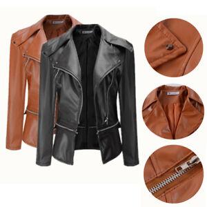 Women Ladies Faux Leather Jacket Coats Zipper Biker Blazer Top Coat Fashion New