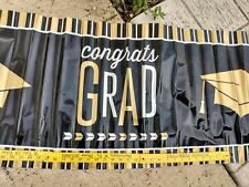 "Graduation GIANT (1)  Banner Decorating Congrats Grad 20"" x 60"" Party Black & G"