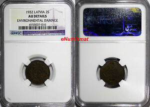 Latvia Bronze 1932 2 Santimi NGC AU DETAILS Last Year Type KM# 2