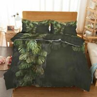 Brown Palm Leaves 3D Printing Duvet Quilt Doona Covers Pillow Case Bedding Sets