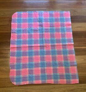 Retro Pink & Blue Check Wool Cot Blanket - 106cm X 90cm