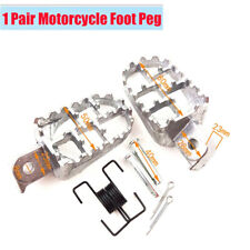 1 Pair Motorcycle Foot Pegs Pedals Footrests Silver Aluminum For Yamaha Honda