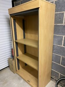 Tall Shutter Doors Office Storage Cupboard Cabinet with 2 Shelves