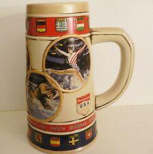 1988 OLYMPIC GAMES SEOUL Budweiser Commemerative Ceramic Beer Mug Stein Cup