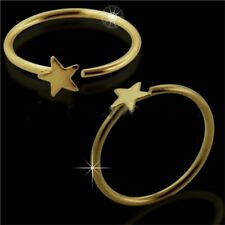 14ct Gold Open Circular Nose Tragus, Helix, Snug Captive Ring Star Design 8mm