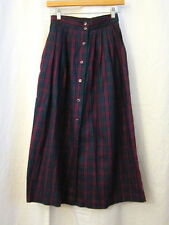 Vtg 90s Pink Navy Green Plaid Button Front Maxi A-Line Cotton Skirt Sz 6 Long