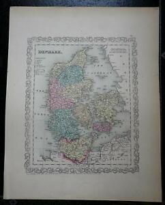Kingdom of Denmark Jylland Sjaelland Fyn Copenhagen 1856 Charles DeSilver map