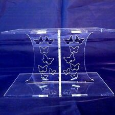 Butterfly Design Square Single Tier Cake Stand - Clear