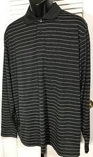 IZOD Golf Polo Shirt Men's L Black Striped Polyester Long Sleeve