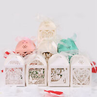 50/100X Love Heart Wedding Favor Sweets Candy Gift Boxes Ribbon Party Decoration