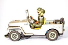 VINTAGE JAPANESE  T.N. NOMURA TIN BUMP N' GO MILITARY JEEP WITH SOLDIER