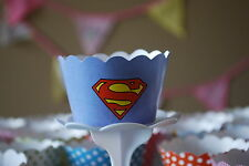 """12 Boys Bday Party """"SUPERMAN"""" Cupcake Wrappers - WORLDWIDE FREE SHIPPING"""