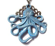 BLUE OCTOPUS bronze filigree pendant necklace steampunk nautical cthulhu R6