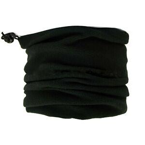 New Men's Polar Fleece Neck Warmer Motorbike Mask Plain Black Tube Snood Scarf