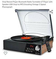 New ListingSeeying Turntable System Record Player Bluetooth Speaker Radio Tt-1852E