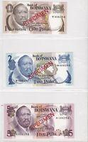 BN15) Botswana 1979 set of 5 Uncirculated SPECIMEN Banknotes 1 – 20Pula
