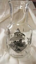 Vintage Norman Rockwell Glass Carafe, images of boys fishing, bathing dog, girls