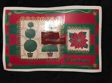 """Holiday Vinyl 12"""" By 18"""" Placemats Lot Set 4 Mats"""