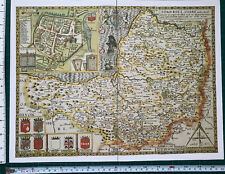 "Old Tudor map of Somerset, Bath, England: John Speed 1600's 15"" x 11"" (Reprint)"